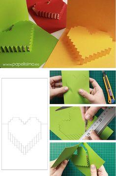 Tarjeta de corazón para San Valentin (pop-up Diy Origami, Origami Paper, Diy Paper, Paper Crafting, Paper Art, Diy Cadeau Noel, Diy And Crafts, Arts And Crafts, Pop Up Cards