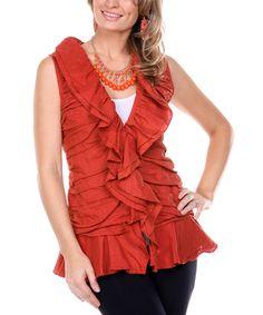 Look at this #zulilyfind! Rust Ruffle Linen V-Neck Top - Women & Plus by Firmiana #zulilyfinds