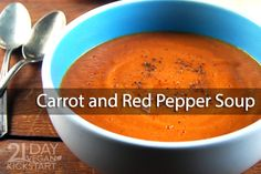 Day 12 - Lunch - Ready to speed this recipe up? Don't worry about peeling the carrots or removing every bit of skin from the roasted pepper. They won't affect the taste or presentation here—plus it'll relieve some of that kitchen stress. Soup Recipes, Whole Food Recipes, Vegetarian Recipes, Cooking Recipes, Healthy Recipes, Healthy Soups, Healthy Food, Recipies, Healthy Eating