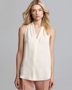 Theory Blouse - Hylin Double Silk V Neck  Bloomingdale's