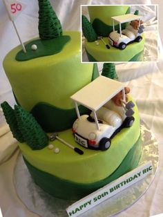 "Golf & ""50th"" Themed Birthday Cake with Hand-sculpted Golf Cart! Coquito"