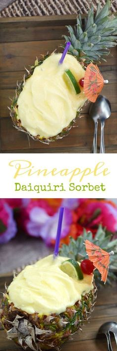 This Pineapple Daiquiri Sorbet is so delicious, it will transport you back to the Hawaiian Islands...well at least in your mind | cookingwithcurls.com