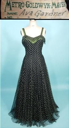 1940's AVA GARDNER MGM Labeled Gown of Black Netting and Embroidery