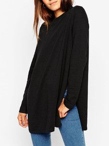 Long T-Shirt with Split in Black Trendy Long Tee