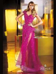 This beautiful pageant dress is truly an unique gown you will never forget. This beaded lace claudine dress by Alyce 2258 has a Queen Ann neckline, sheer and embroidered bodice, and open back design. Completing this look is a floor length skirt with a high side slit. This pageant dress comes in these colors: fuchsia and black. This amazing gown will no doubt turn heads and make jaws drop as you enter to the room. Pair this design with long crystal earrings and platform heels at ...