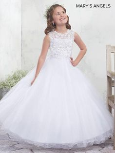 7283ea29a Long Flower Girl Dress with Lace Appliques by Mary's Bridal MB9010