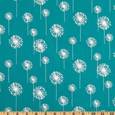 Premier Prints Small Dandelion Turquoise/White from @fabricdotcom  Screen printed on cotton duck with a linen (slub) appearance, this versatile medium weight fabric is perfect for window accents (draperies, valances, curtains and swags), toss pillows, bed skirts, duvet covers, slipcovers and more! Get creative with tote bags and aprons, too! Colors include true turquoise and ivory/white.