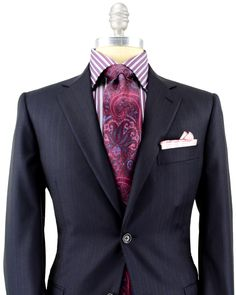 Belvest Navy Tonal Stripe Suit