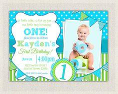 Boys 1st Birthday Invitation / Blue and Green Dots Stripes  /