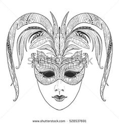 Image result for coloring pages of carnival masks venice
