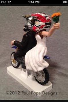MOTORCYCLE Running Groom and Bride W/Diecast KTM Dirt bike Wedding ...