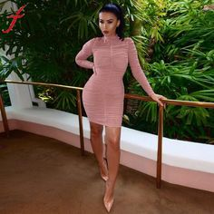 Feitong Sexy Women's Long-Sleeve Cocktail Party Turtleneck Mini Short Dress