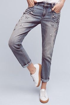 Pilcro Bejewelled Mid-Rise Jeans - anthropologie.com