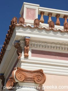 A sample of neoclassical architecture in the village of Messaria on Santorini Greece.