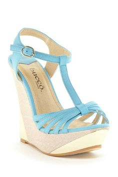 Bucco Tyler Wedge Sandal in baby blue Wedge Sandals, Wedge Shoes, Shoes Sandals, Heeled Boots, Shoe Boots, Dream Shoes, Hot Shoes, Beautiful Shoes, Wedding Shoes
