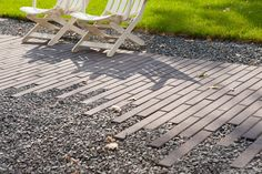 Broadway 318 paver. A modern, linear paver for patios, driveways and walkways.