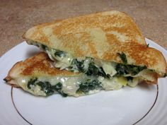 Spinach and Artichoke Grilled Cheese- Super easy and so good!