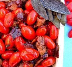 """Grape Tomatoes with Bacon: """"This is probably the most-delicious tomato dish of my life. The combination of flavors is fantastic. I wish I was a writer to better describe this incredible dish."""" -MsPia"""