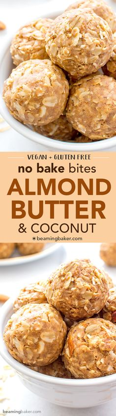 No Bake Almond Butter Coconut Bites (V+GF): Nutty, lightly sweet and satisfying energy bites made from just 6 simple ingredients. #Vegan #Gluten Free | BeamingBaker.com