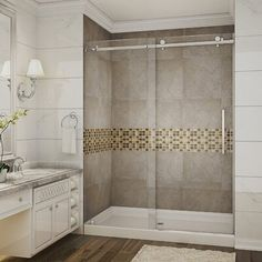 Shower Alcove, Frameless Sliding Shower Doors, Sliding Door, Shower Inserts, Shower Installation, Walk In Shower Designs, Walk In Shower Kits, Shower Remodel, Restroom Remodel