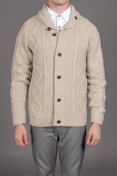 Cable Cardigan with Shawl Collar.