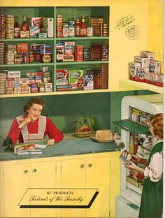1940s food brand advertisement featuring vintage yellow and green kitchen. What's on your shelves?