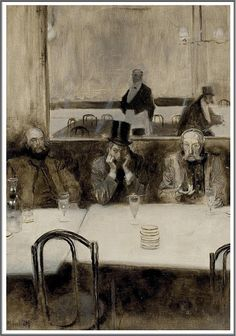 Serafino Macchiati (1861-1916), Paul Verlaine, Bibi la Purée et Stéphane Mallarmé au café Procope - 1890