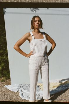 Jo Dungarees - White Linen – Lily Ashwell