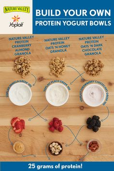 Build your own Protein Yogurt Bowls with Yoplait Greek 100 Protein yogurt and Nature Valley Protein granola! It's easy, fun and with so many protein-filled combinations, you'll never get bored.
