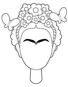 Dibuja la cara de Frida y pinta el dibujo completo con muchos colores.