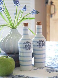 Blue & White Striped Oil & Vinegar Set www.nordichouse.co.uk