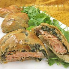 Hojaldre de salmón y espinacas