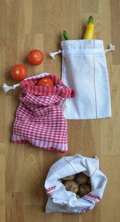 Drawstring bag produce bags - tutorial - made from a tea towel