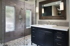 modern bathroom. The Case for a Curbless Shower. A Streamlined, Open Look is a First Thing to Explore When Renovating a Bath. Also a great option for handicap accessible showers and bathrooms.