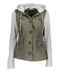 Loving this Olive & Gray Removable-Hood Jacket on #zulily! #zulilyfinds