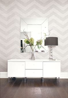 Grey and White Chevron covered in String. From Wallquest's Grass Effects Collection Entry Way Design, Wall Design, House Design, Faux Grass, Wall Wallpaper, Grey And White, Home Office, Chevron, Sweet Home