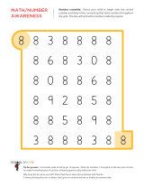 Kindergarten worksheets - Number scramble - 8