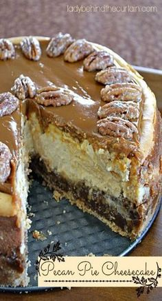 Pecan Pie Cheesecake - Lady Behind The Curtain. Main ingredients include vanilla wafers, pecan pie filling, cream cheese, and dulce de leche topping. Pecan Pie Cheesecake, Cheesecake Recipes, Dessert Recipes, Dessert Healthy, Pie Dessert, Dessert Table, Dinner Recipes, Cupcakes, Cupcake Cakes
