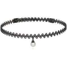 BERRICLE Black-Tone Simulated Pearl Woven Fashion Choker Necklace ($25) ❤ liked on Polyvore featuring jewelry, necklaces, choker necklace, women's accessories, faux pearl choker, woven necklace, faux pearl necklace and braided necklace