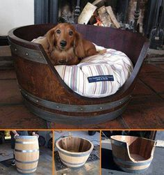 Wine Barrel Dog Bed! Looking for a unique dog bed idea? This one is it! I totally love the rustic touch this would add to any room and I am sure any dog would love it too Tutorial on the blog...  instructions ==> http://diycozyhome.com/diy-wine-barrel-dog-bed/