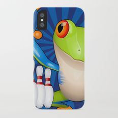 Very Cute Tree Frog Bowling iPhone X Slim Case