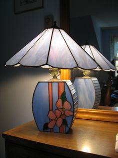STAINED GLASS LAMP BASE AND SHADE TO COORDINATE DECOR IN BEDROOM