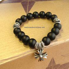 31f2a2a1f7c8 Black Agate Balls Bracelet With Chrome Hearts Silver Accessories Shop Online