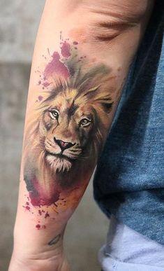 watercolor lion tattoo © Maggie Paletta Tattoo Artist | Rusty bones. Burning mind 💙💙💙