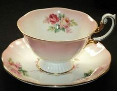 ROYAL ALBERT PASTEL PINK WHITE PEDESTAL FOOTED TEA CUP AND SAUCER