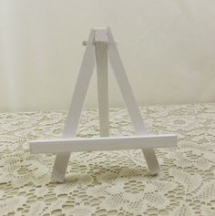 Small White Easel Hand Painted Wood Tabletop Miniature For Art Canvas Tiles Table Number