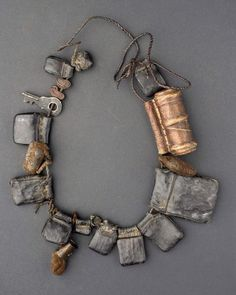 Amhara - Ethiopia | Necklace | Leather amulets containing Coptic scrolls