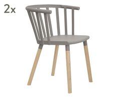 """Komplet 2 krzeseł """"Prato Light Grey"""", 42 x 41 x 75 cm"""
