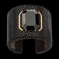Black Cuff Bracelet - Black Onyx and diamonds set in yellow gold