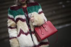 A red YSL bag at NYFW.